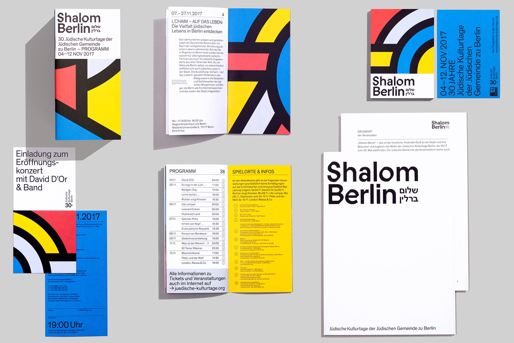 An image of the stationary of the new visual identity for the jewish cultural days 2017